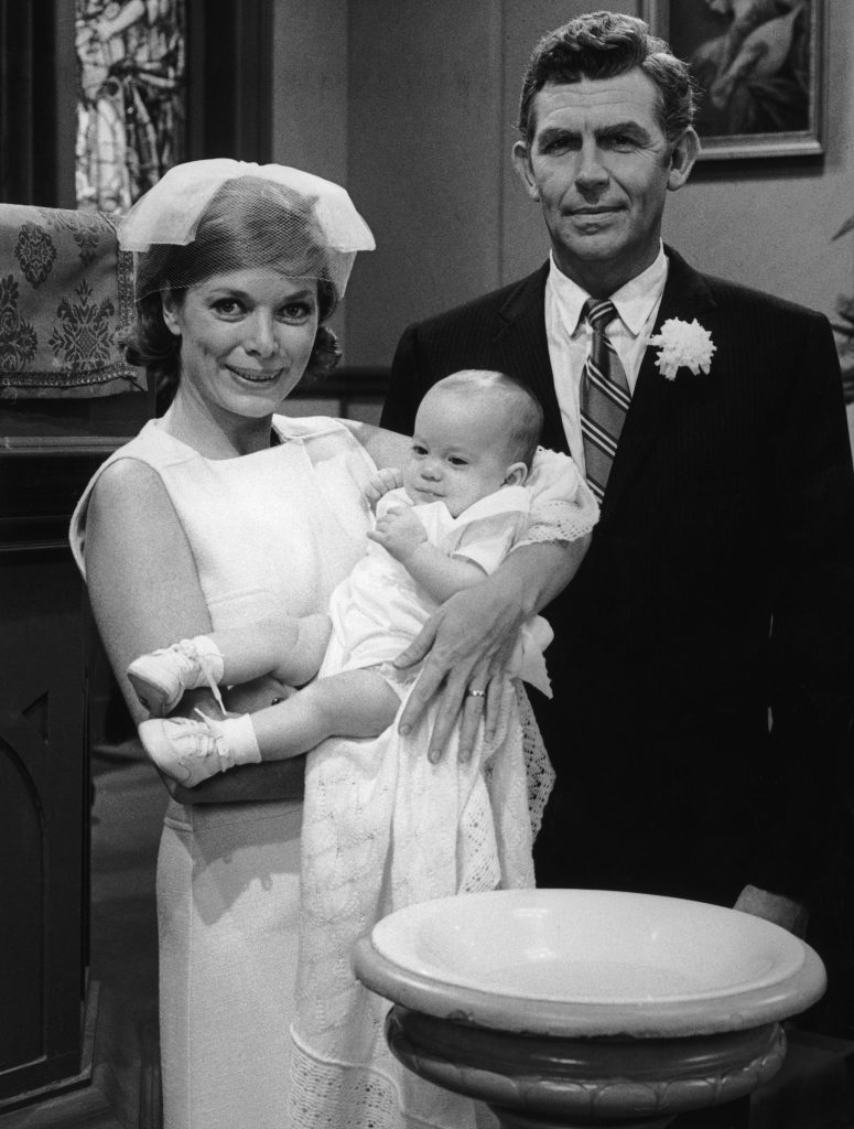Andy Griffith, right, with Aneta Corsaut on 'Mayberry, R.F.D.' in 1969