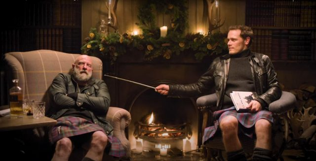 Sam Heughan's Yule Log Is the Cutest Thing You'll See This Holiday Season