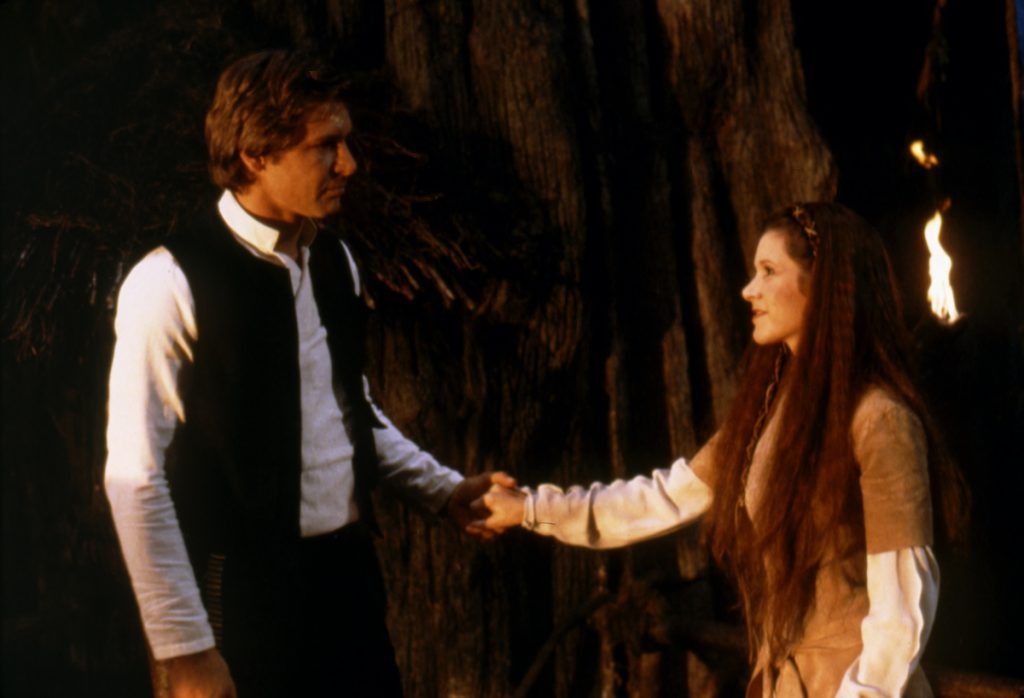 Harrison Ford and Carrie Fisher on the set of Star Wars: Episode VI - Return of the Jedi | Sunset Boulevard/Corbis via Getty Images