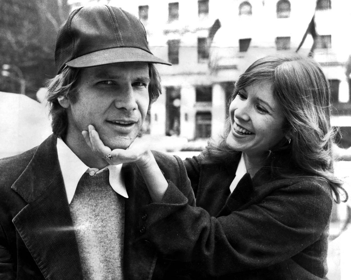 """Harrison Ford and Carrie Fisher on Fifth Ave outside The Plaza hotel. They were in town for the movie """"Star Wars."""""""