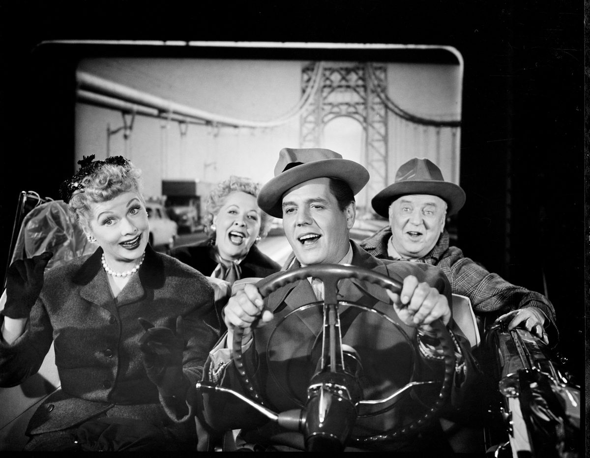 The cast of 'I Love Lucy' in a convertible