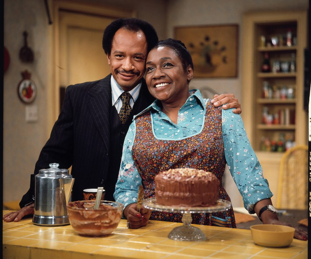Isabel Sanford as Louise Jefferson with her on-air husband, Sherman Hemsley as George Jefferson, from the CBS situation comedy, THE JEFFERSONS.