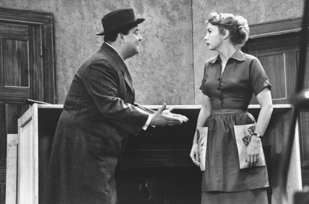 Audrey Meadows and Jackie Gleason rehearsing for an episode of The Honeymooners. | Leonard Mccombe/The LIFE Images Collection via Getty Images/Getty Images
