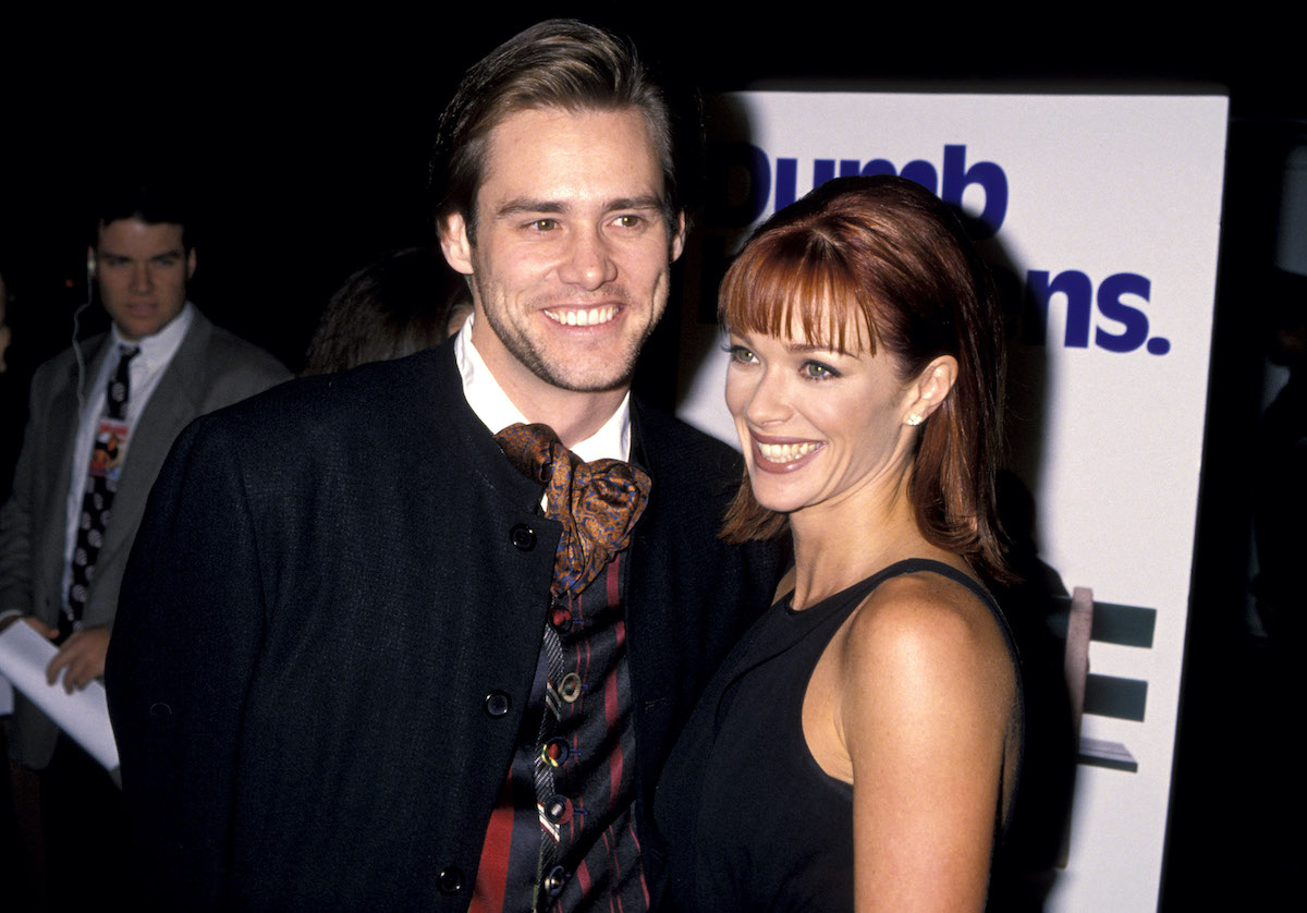 Jim Carrey and Lauren Holly at the 'Dumb and Dumber' premiere