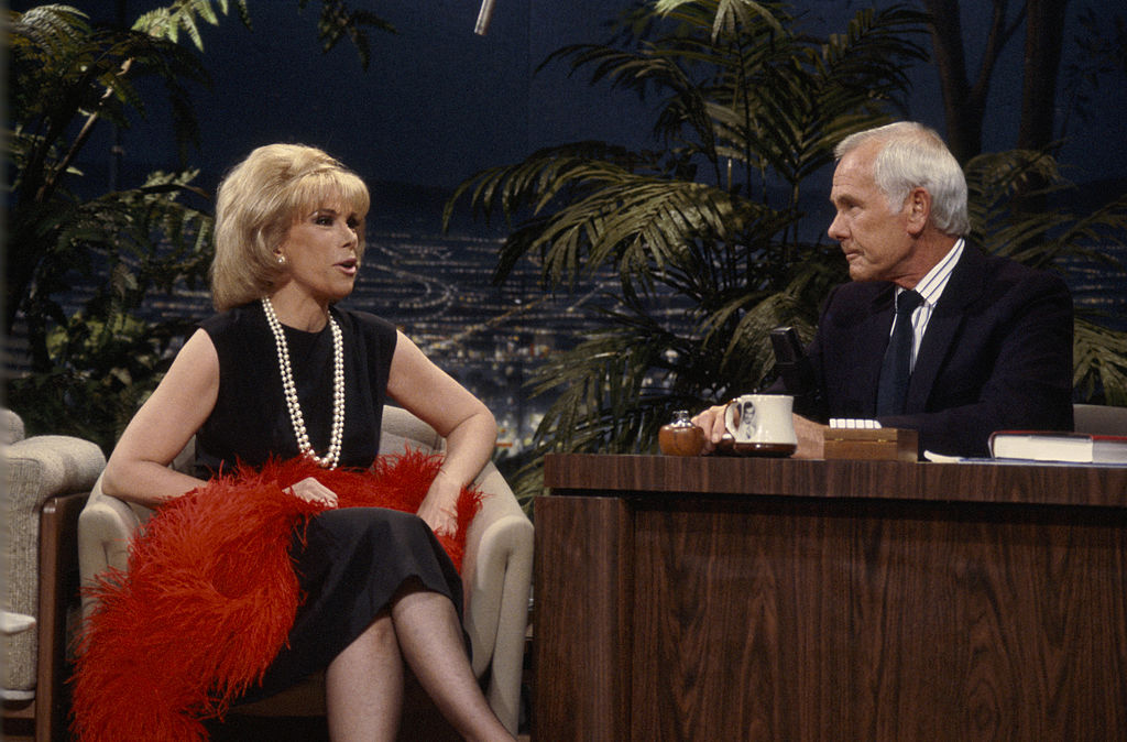 Joan Rivers during an interview with host Johnny Carson on The Tonight Show 1986