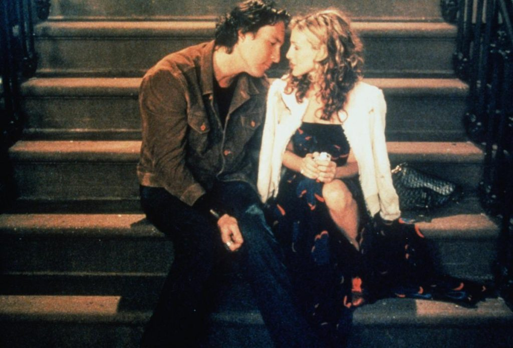 """Sarah Jessica Parker (Carrie) and John Corbett (Aidan) in """"Sex and the City"""""""