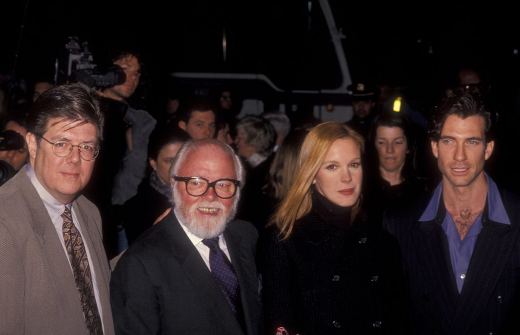 John Hughes, Richard Attenborough, Elizabeth Perkins, and Dylan McDermott at the premiere of 'Miracle on 34th Street'