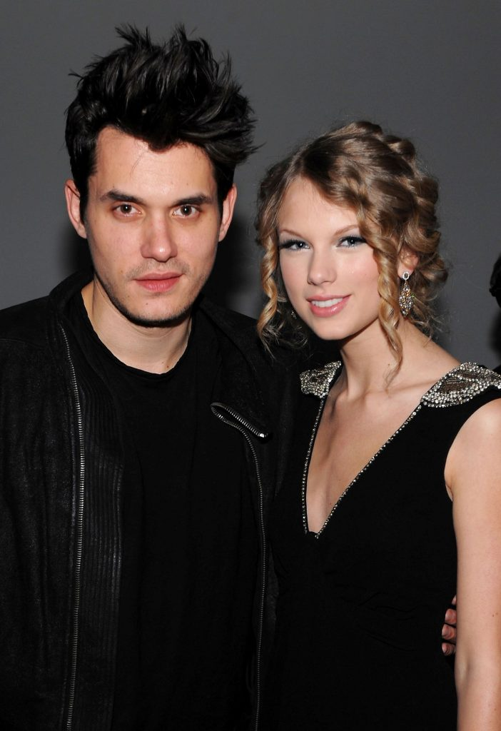 John Mayer (L) and Taylor Swift attend the launch of VEVO