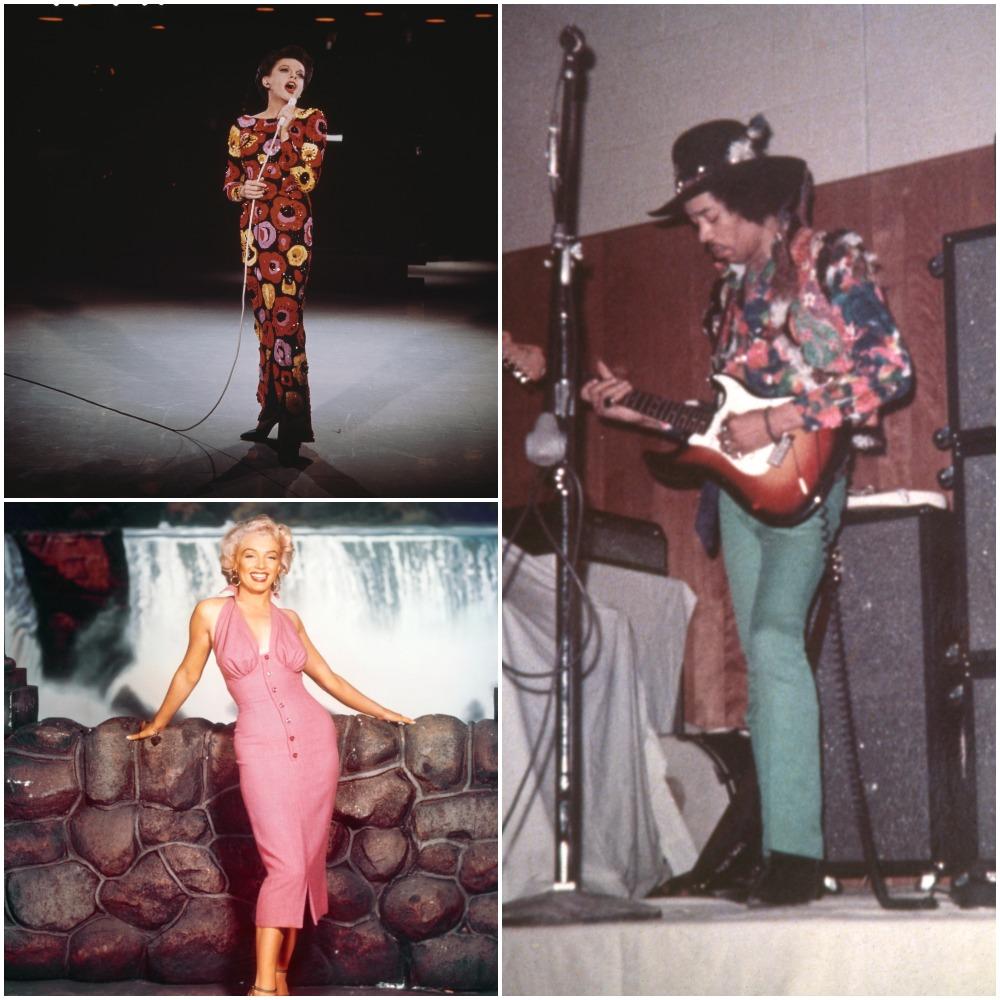Judy Garland (top); Marilyn Monroe; Jimi Hendrix