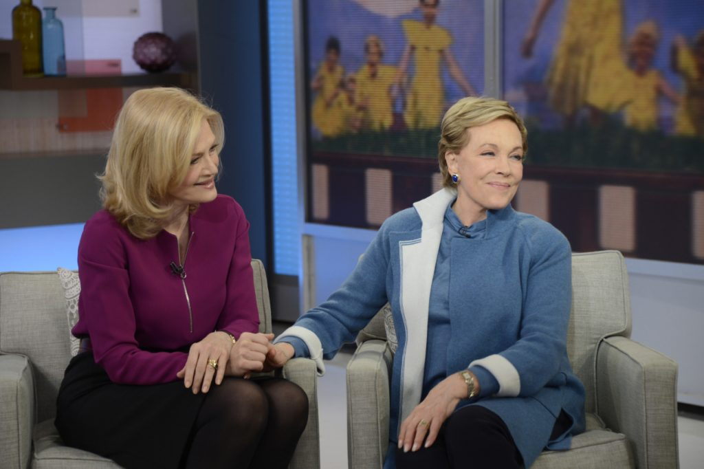 Julie Andrews sitting down for an interview with Diane Sawyer