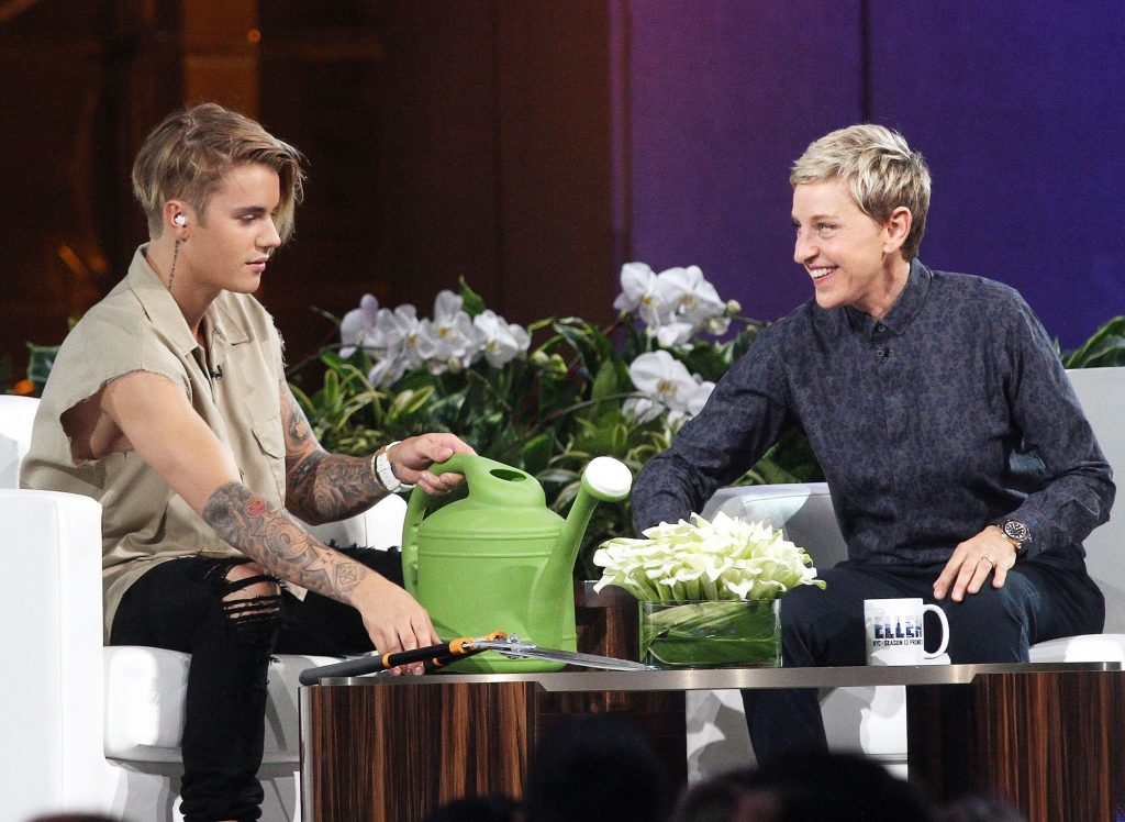 Justin Bieber and Ellen DeGeneres on 'The Ellen DeGeneres Show'