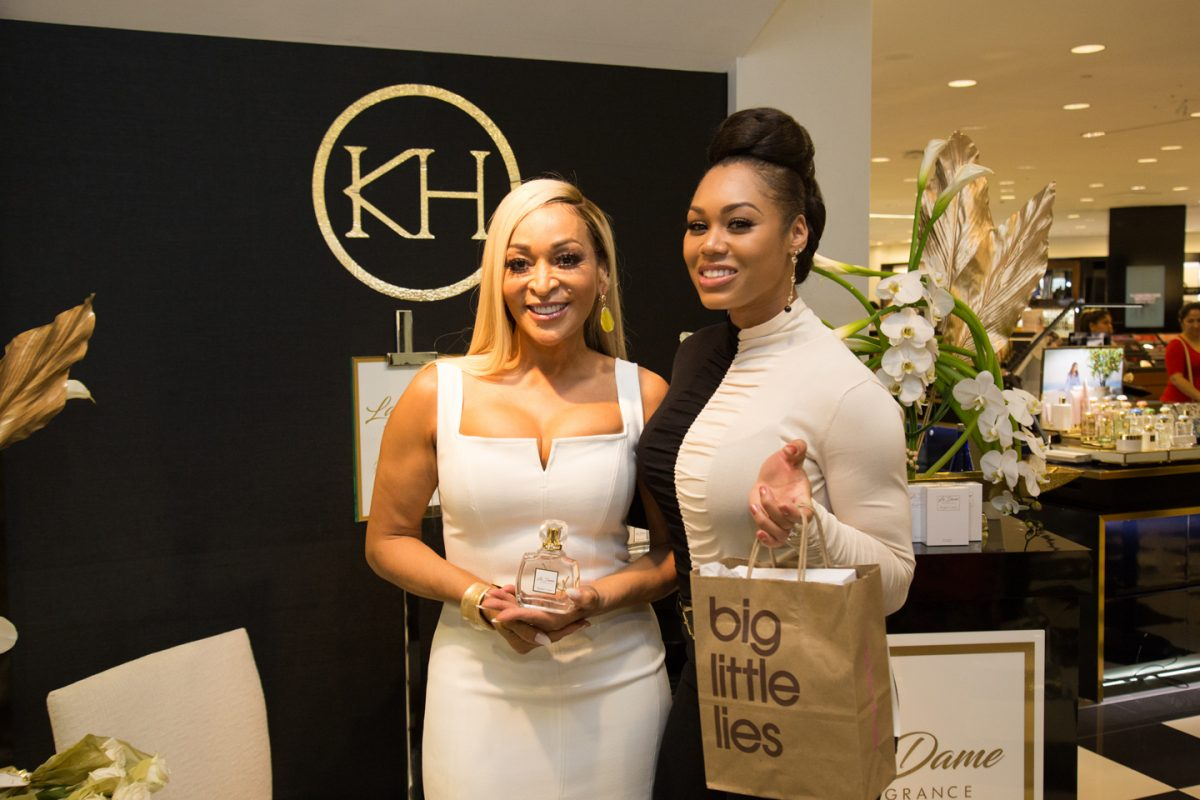 Karen Huger and Monique Samuels attend La'Dame Fragrance Pop-up at Bloomingdales
