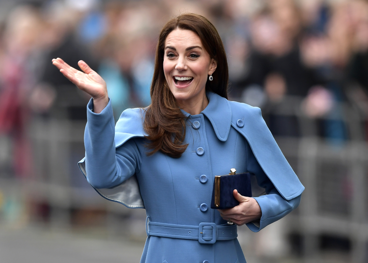 Kate Middleton the Duchess of Cambridge smiling to a crowd in February 2019