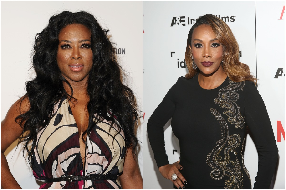 Actress Kenya Moore attends the 24th annual Elton John AIDS Foundation's Oscar viewing party on February 28, 2016 in West Hollywood, California./Actress Vivica A. Fox attends the 32nd Annual IDA Documentary Awards held at Paramount Studios on December 9, 2016 in Hollywood, California.