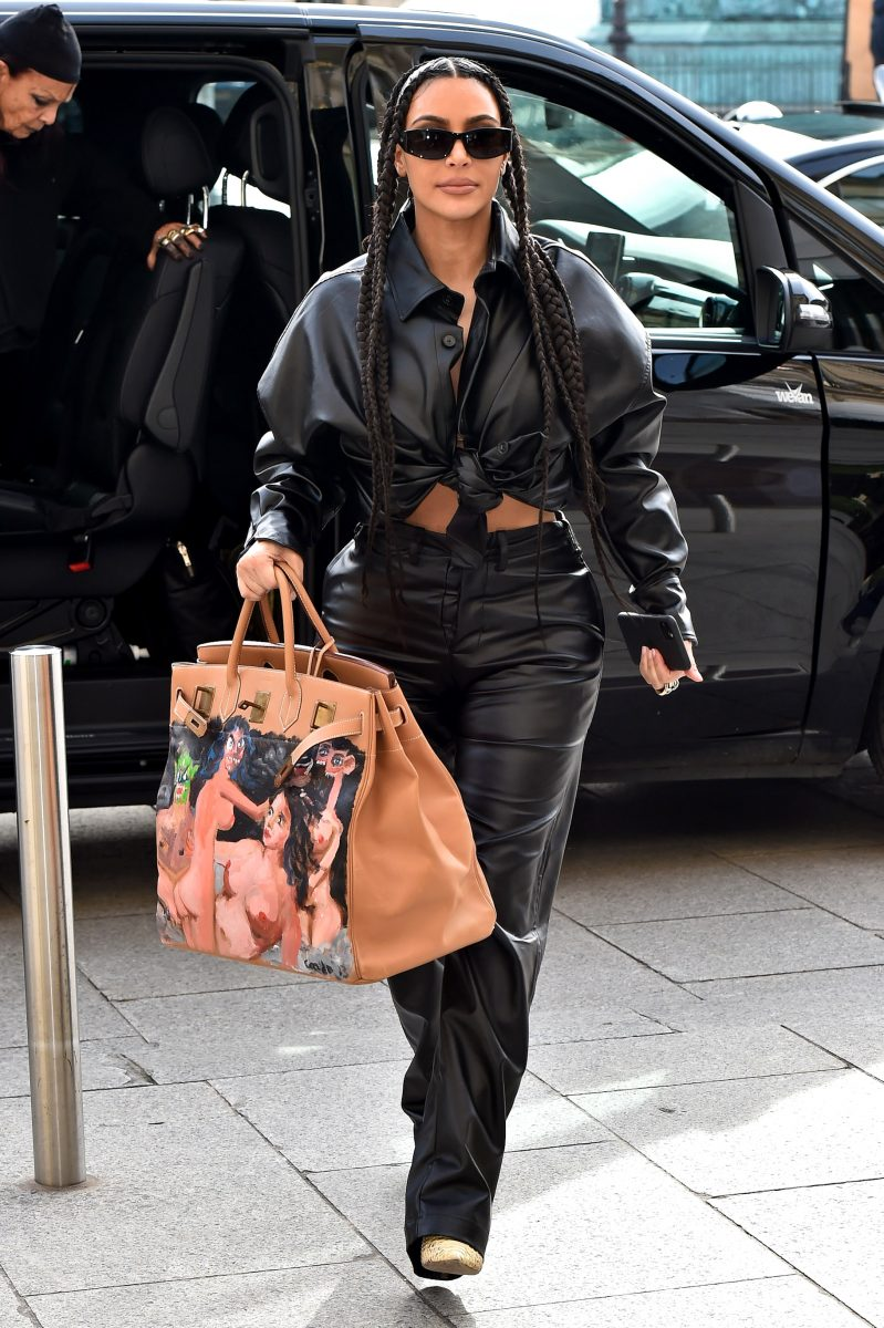 """Kim Kardashian West is seen arriving at the """"Ritz"""" hotel on March 03, 2020 in Paris, France."""