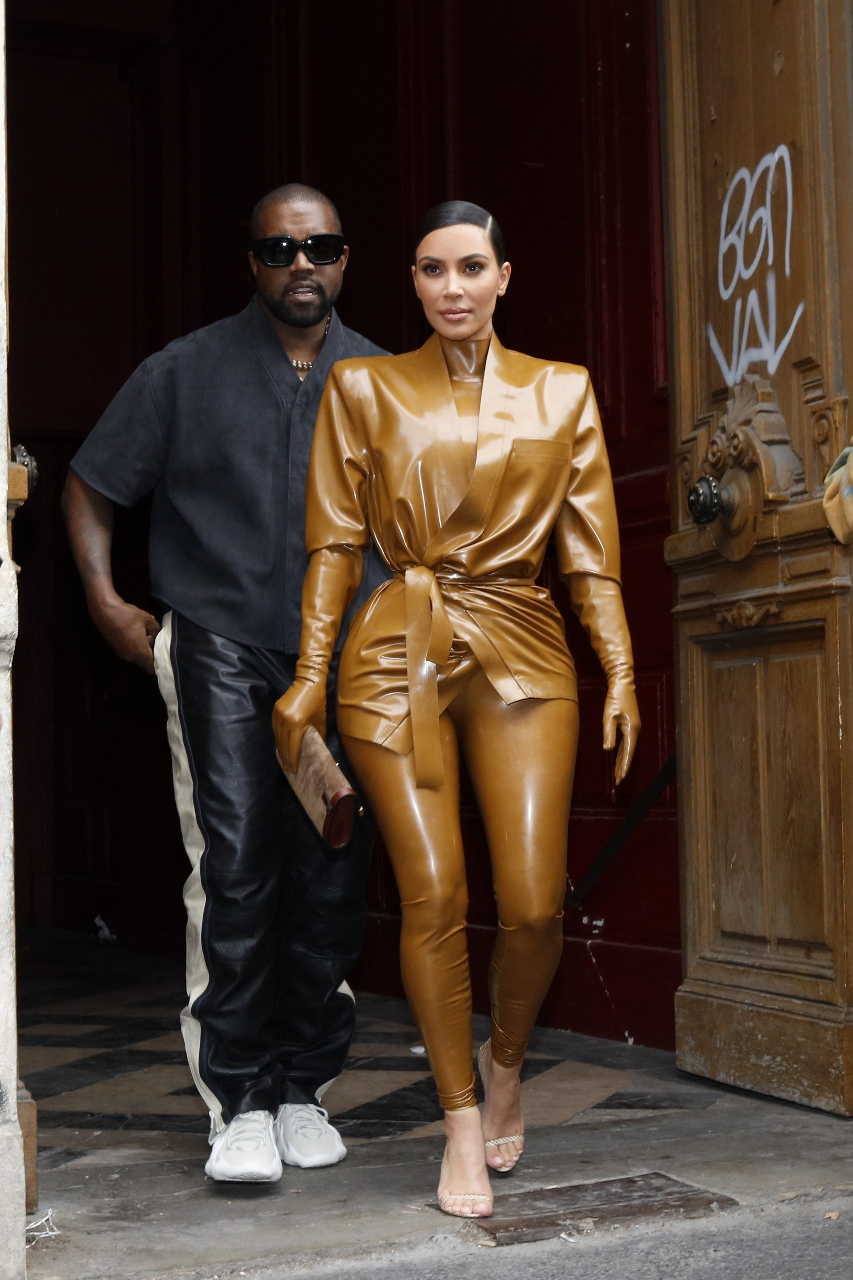 Kim Kardashian and Kanye West at the Theatre des Bouffes du Nord to attend Kanye West's Sunday Service on March 01, 2020 in Paris, France.