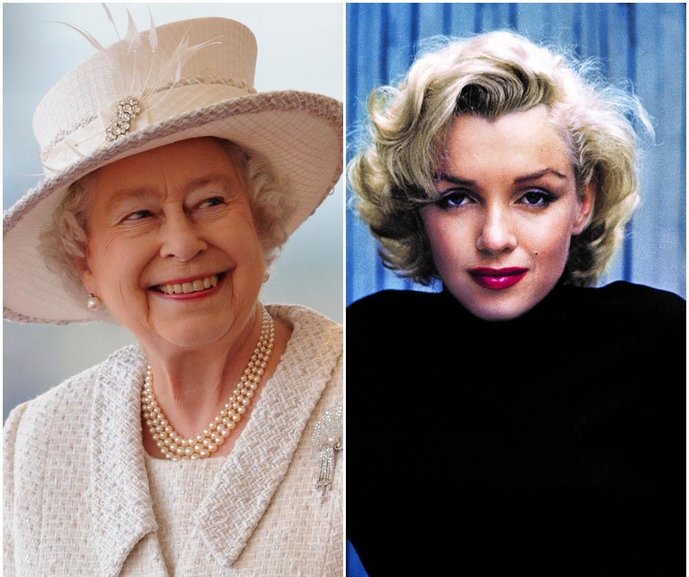 (L) Queen Elizabeth II, (R) Marilyn Monroe