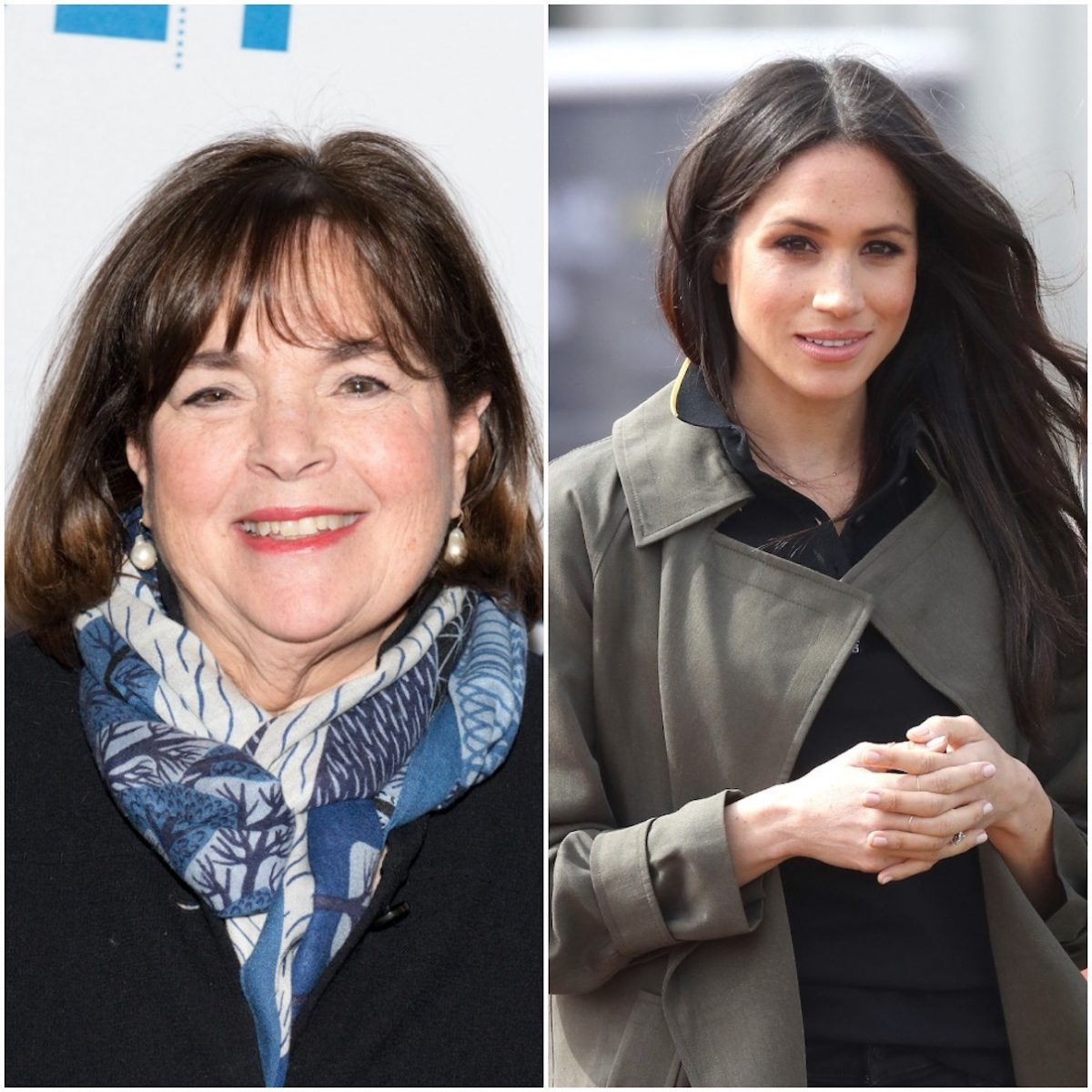 (L-R) Ina Garten in 2017 and Meghan Markle in 2018