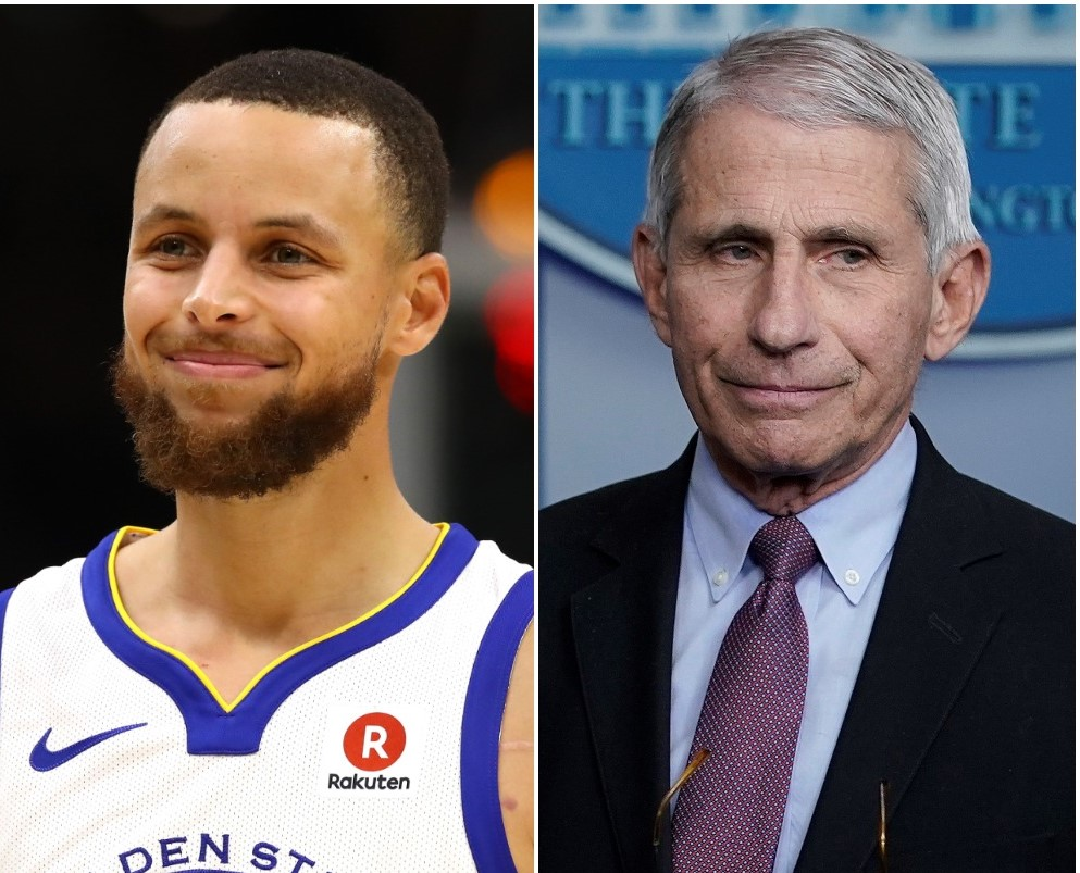 (L) Steph Curry, (R) Dr. Anthony Fauci