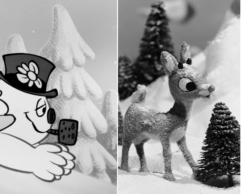 (L) Still image from the animated TV special 'Frosty The Snowman,' (R) Still image from 'Rudolph the Red-Nosed Reindeer' movie