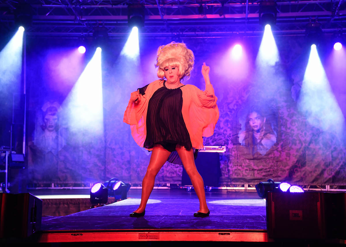 Lady Bunny (John Ingle) performs with dancers at the Voss Events Halloween Drive N' Drag show