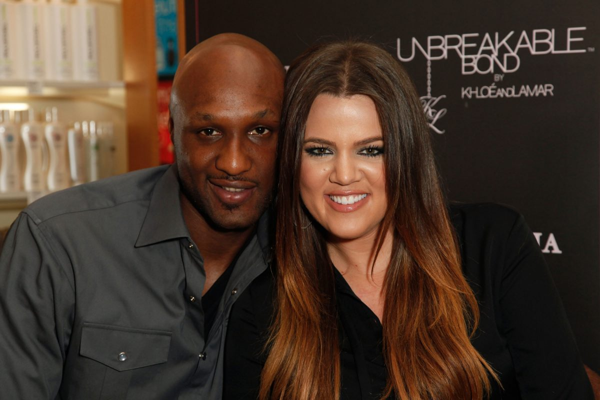 Professional basketball player Lamar Odom and TV personality Khloe Kardashian make an appearance to promote their fragrance, 'Unbreakable Bond,' at Perfumania on June 7, 2012 in Orange, California.