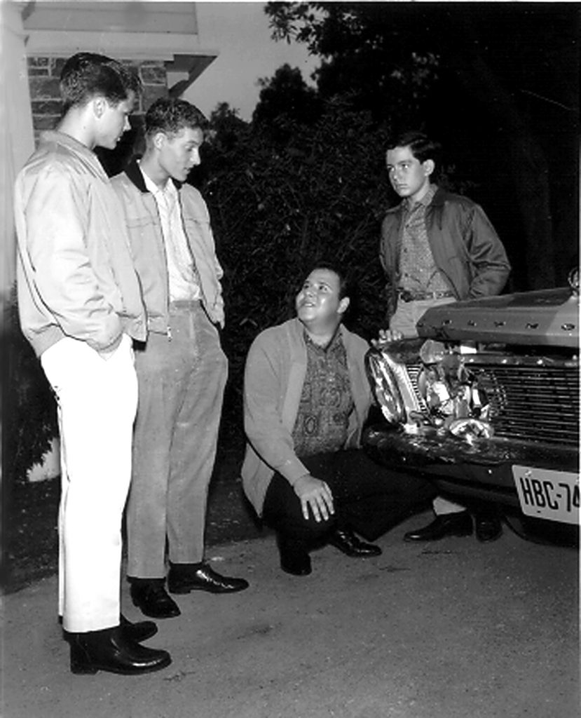 Tony Dow (Wally), Ken Osmond (Eddie), Frank Bank ('Lumpy'), and Jerry Mathers (Beaver) from 'Leave It to Beaver'