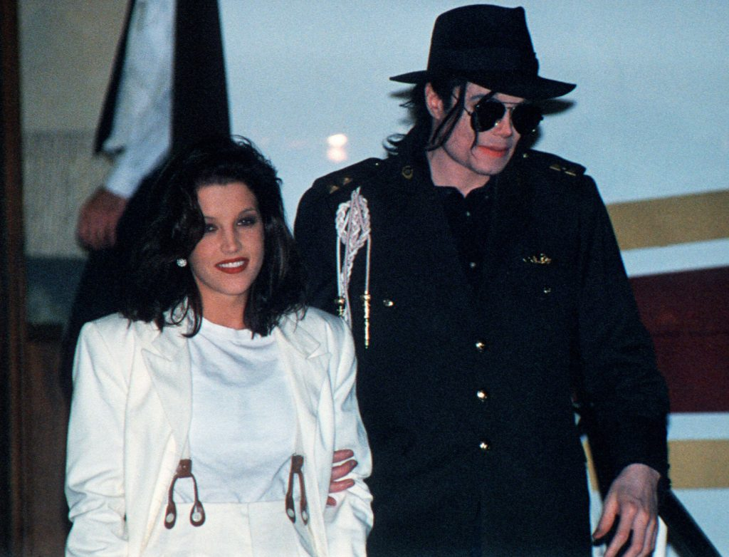 This August 16, 1994 file photo shows US pop star Michael Jackson and his then wife Lisa-Marie Presley arriving at the airport in Budapest.
