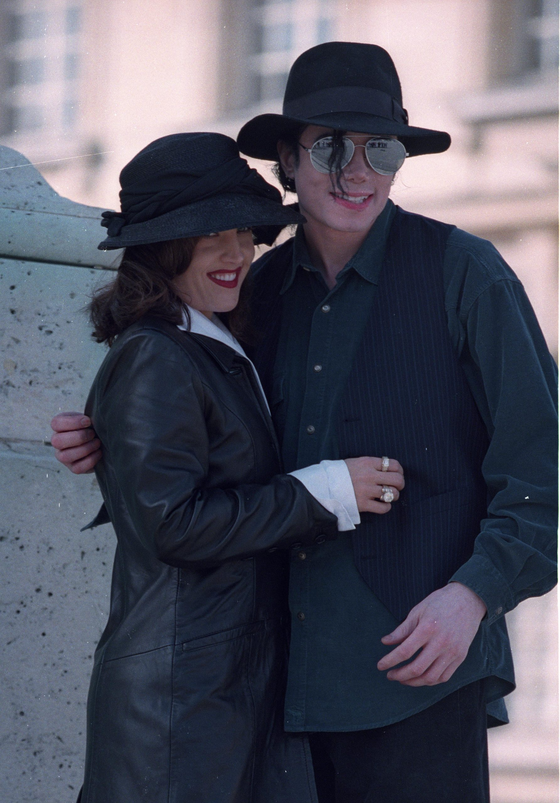 PARIS - Michael Jackson and wife Lisa Marie Presley in 1995 at Versailles, France.
