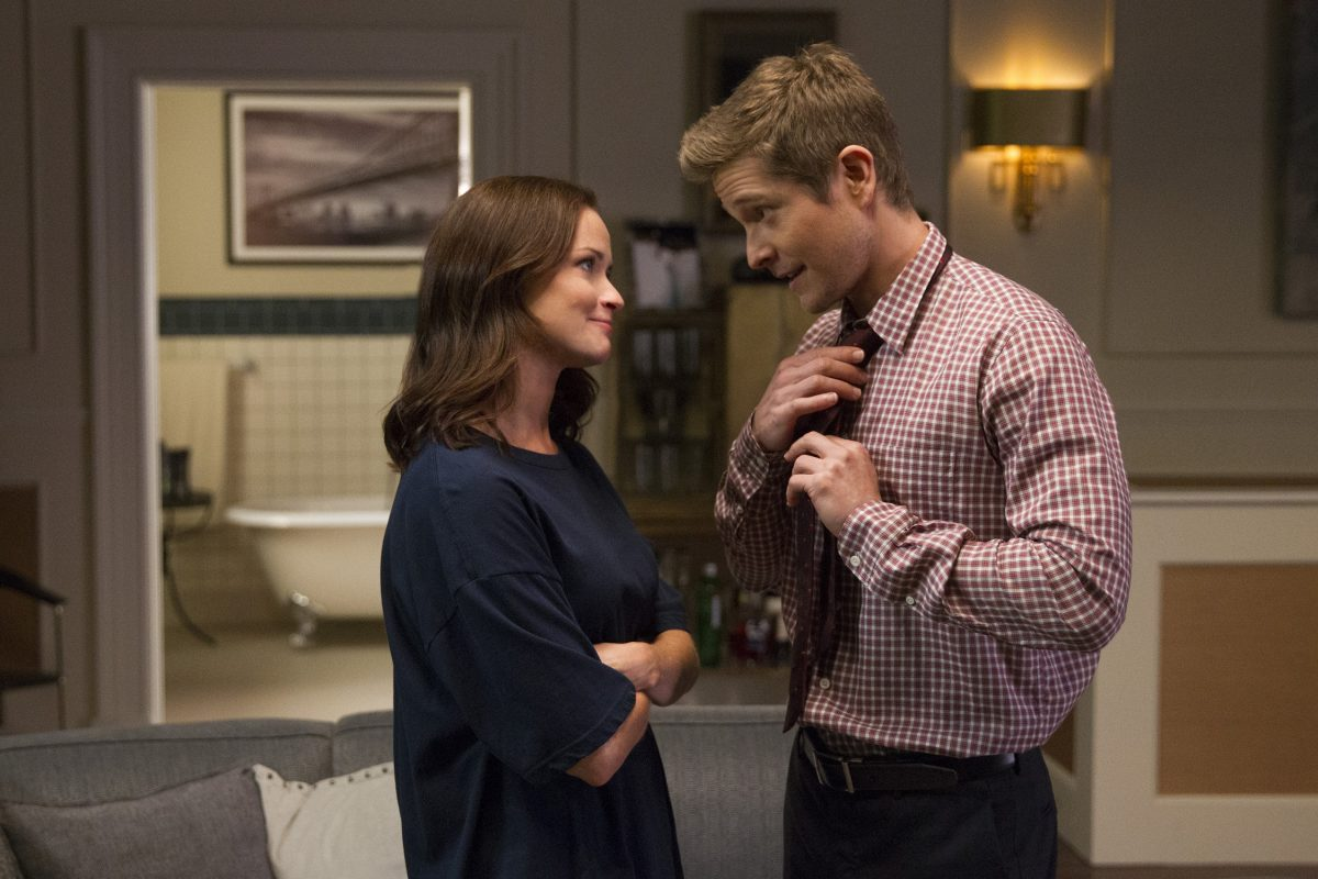 Alexis Bledel as Rory Gilmore and Matt Czuchry as Logan Huntzberger in 'Gilmore Girls: A Year in the Life'