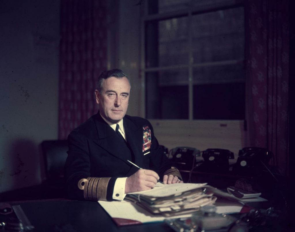 First Sea Lord Louis Mountbatten, Earl Mountbatten, at his office in the Admiralty