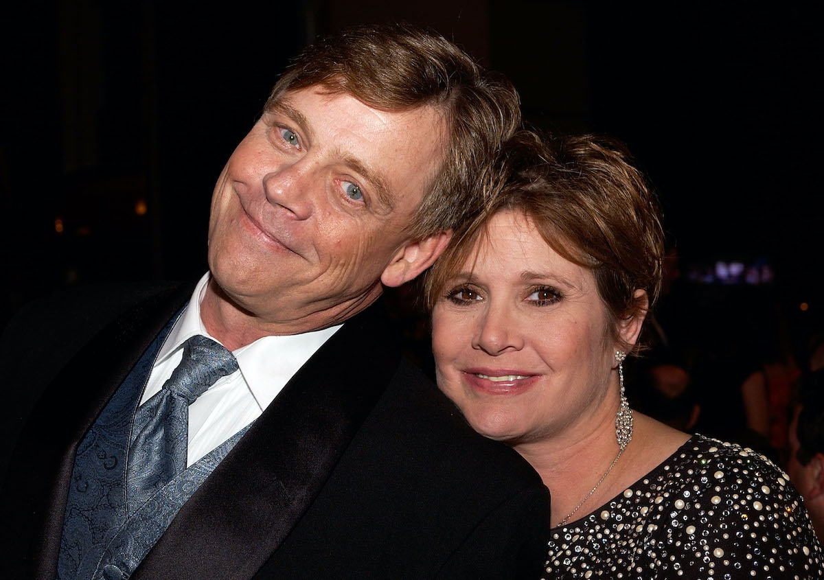 Mark Hamill and Carrie Fisher at the AFI Life Achievement Award tribute to George Lucas