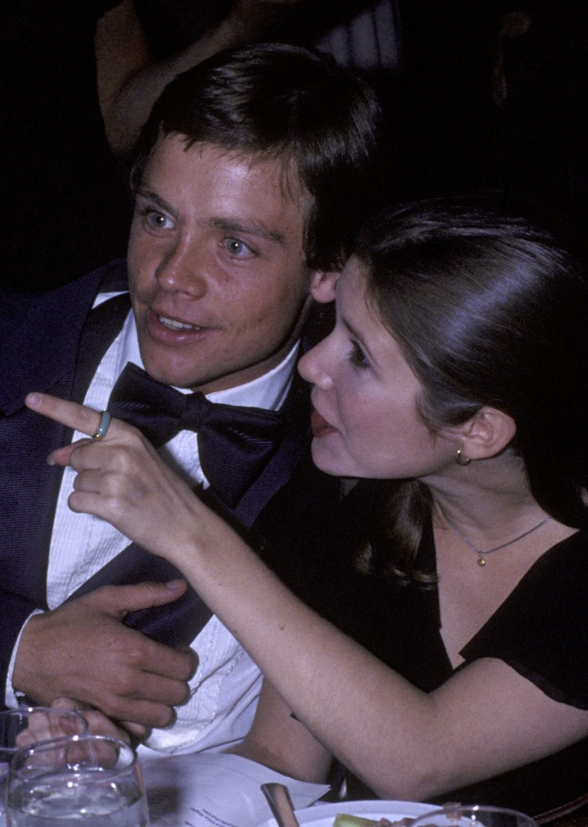 Mark Hamill and Carrie Fisher attend 10th Anniversary Party for American Film Institute Gala on November 17, 1977