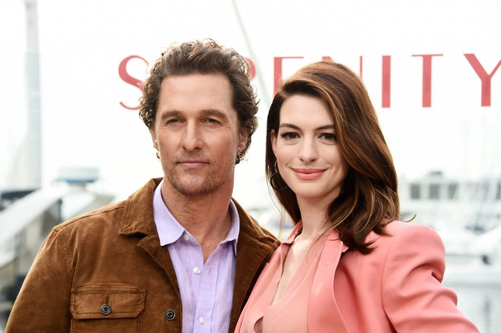 Matthew McConaughey and Anne Hathaway attend the Aviron Pictures 'Serenity' photo call