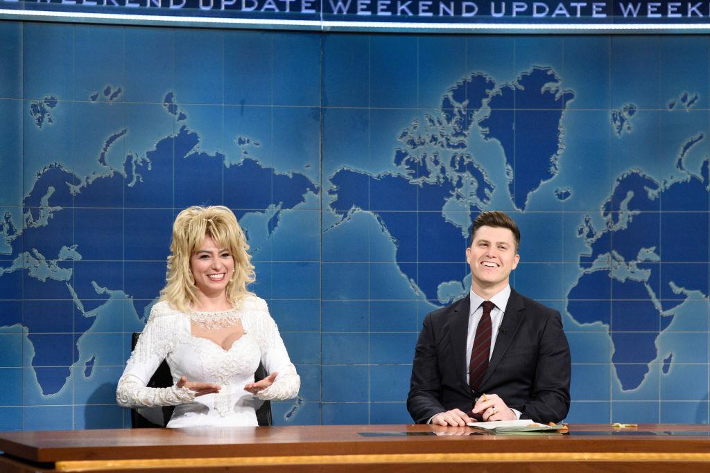 SNL cast member Melissa Villasenor playing Dolly Parton on Weekend Update