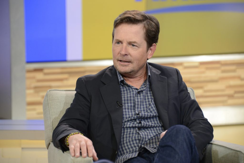 Michael J Fox speaking on the set of a talk show