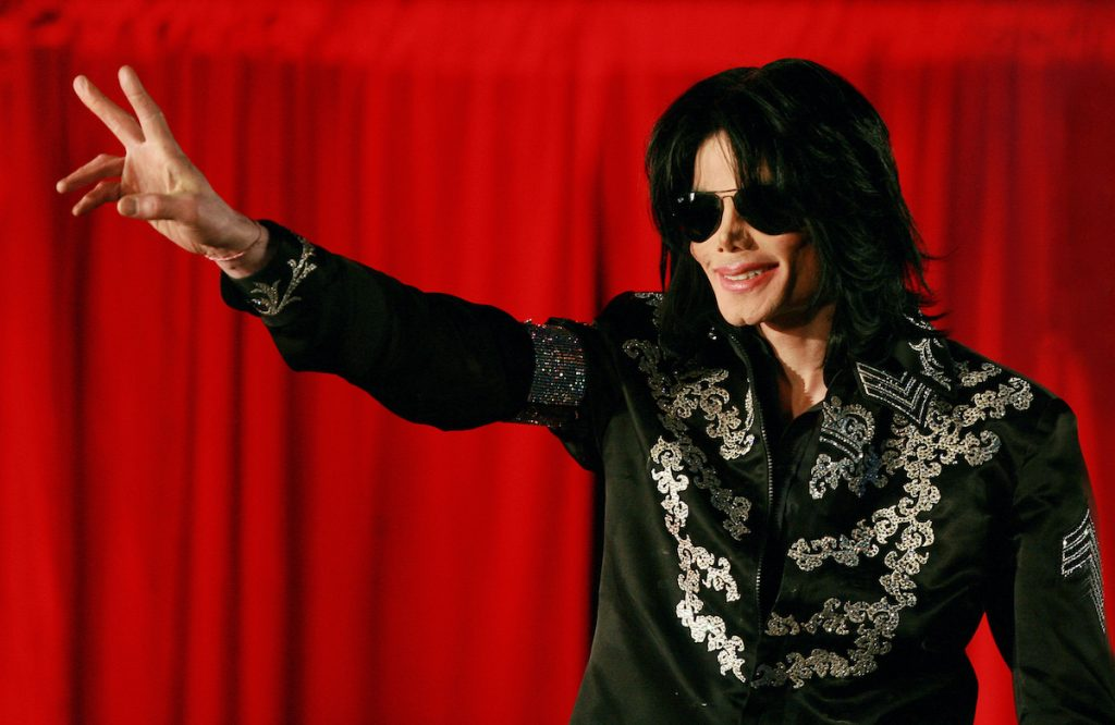 Michael Jackson addresses a press conference at the O2 arena in London