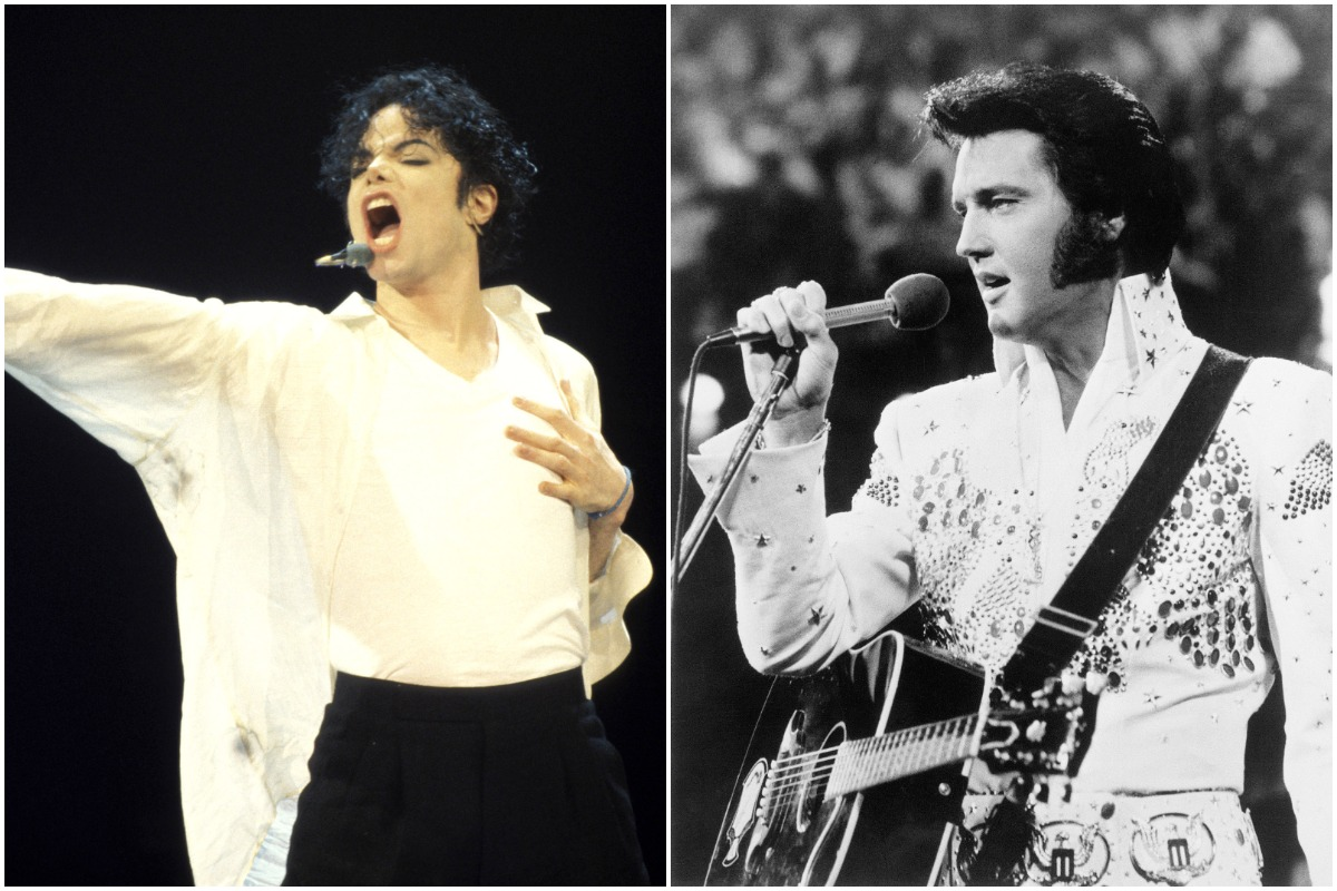 Side-by-side pictures of Michael Jackson and Elvis Presley singing