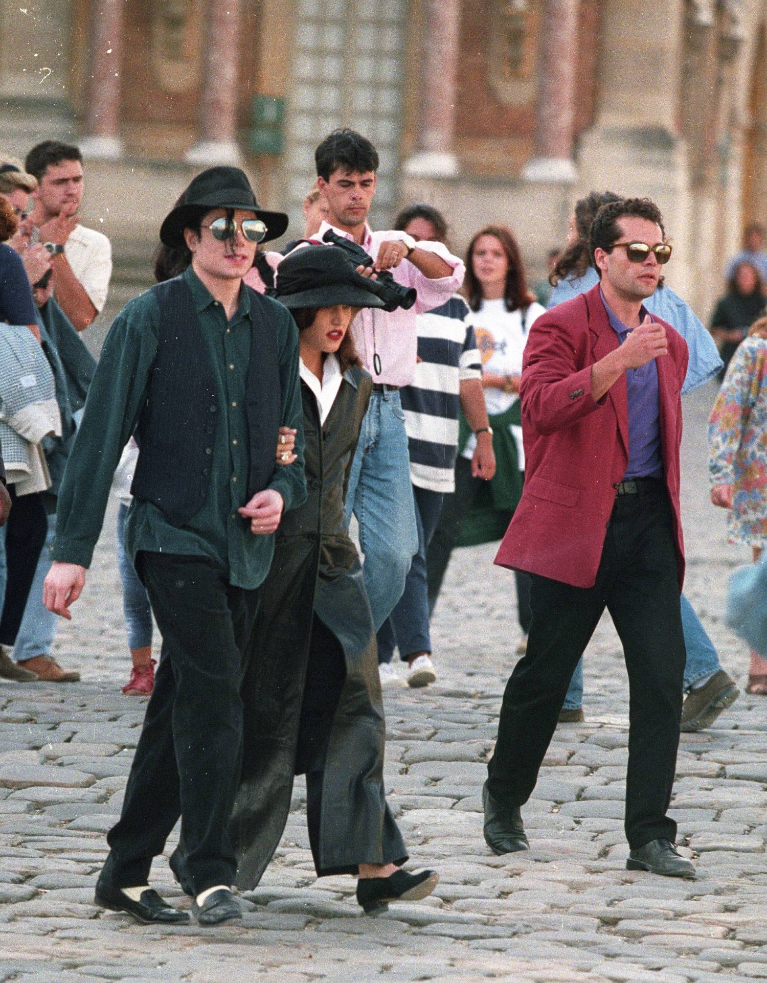 Michael Jackson and wife Lisa Marie Presley in 1995 at Versailles, France.
