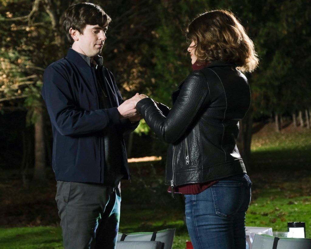Freddie Highmore and Paige Spara on the set of The Good Doctor | Jeff Weddell via Getty Images