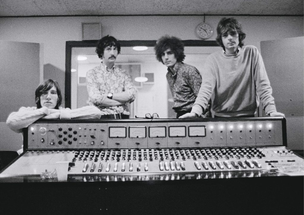 Pink Floyd poses for a photo while in the recording studio
