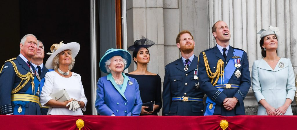 Prince Charles, Camilla Parker Bowles, Prince Andrew, Queen Elizabeth ll, Meghan Markle, Prince Harry, Prince William, and Kate Middleton