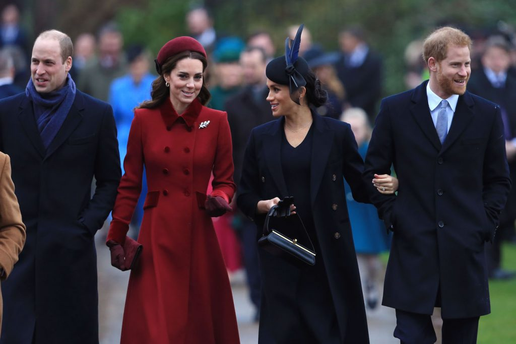 Prince William, Kate Middleton, Meghan Markle, and Prince Harry walk in a row to church
