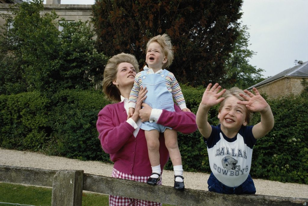 Prince William and Prince Harry and their mother Princess Diana