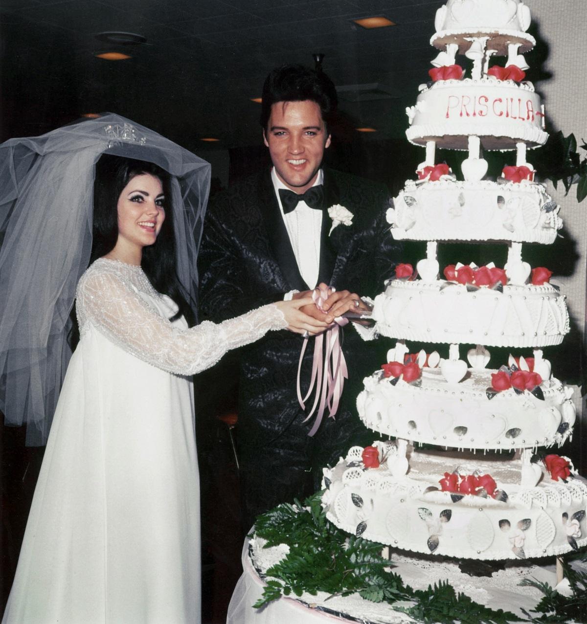 Elvis and Priscilla Presley at their wedding
