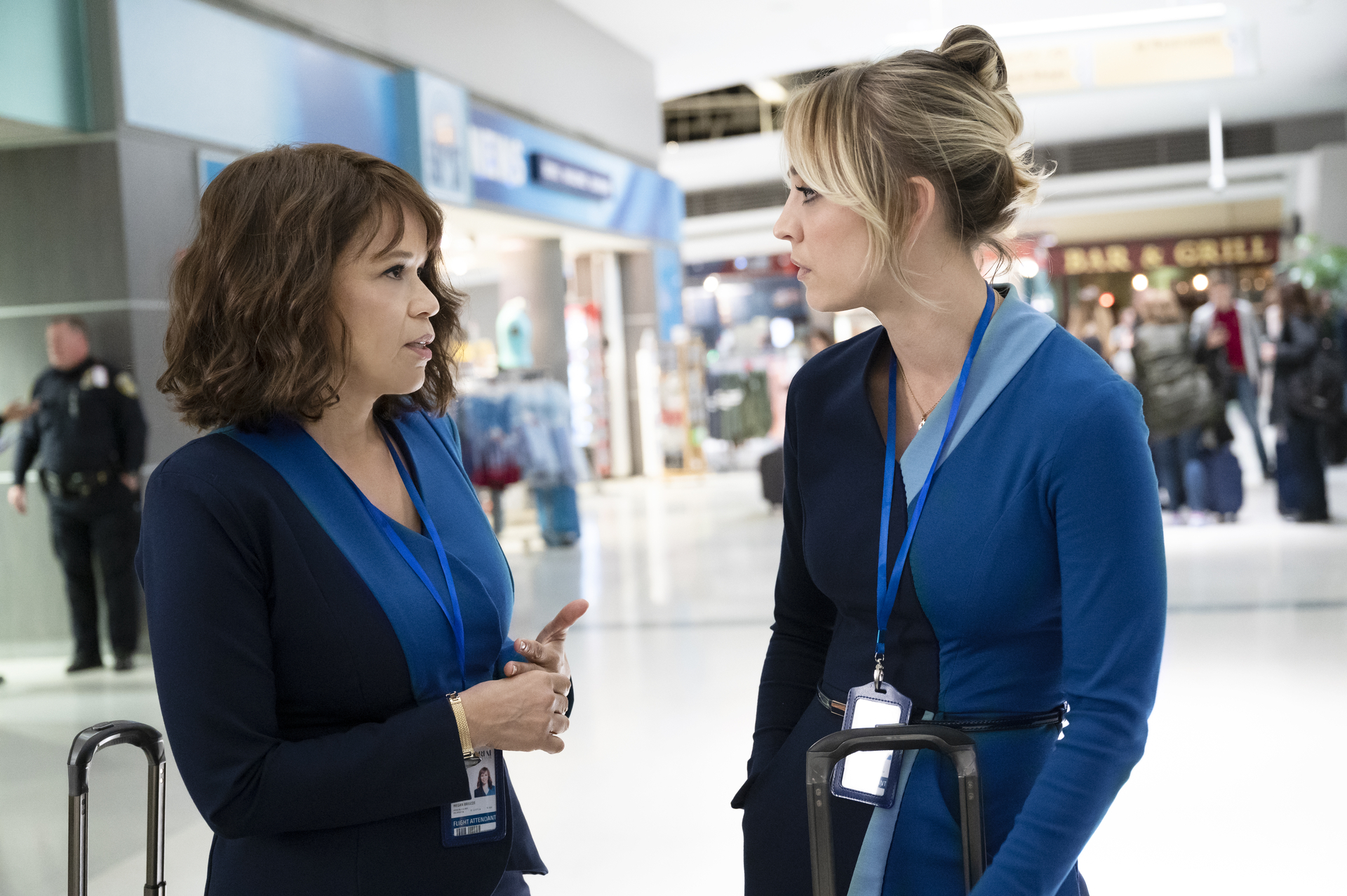 Rosie Perez and Kaley Cuoco in 'The Flight Attendant'