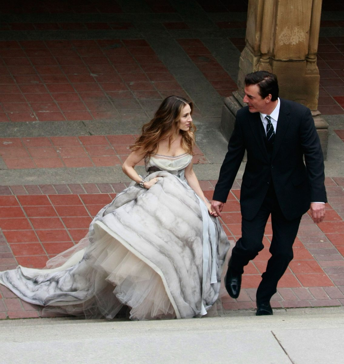 Sarah Jessica Parker and Chris North are photographed together in Central Park prior to the release of 'Sex and the City: The Movie'