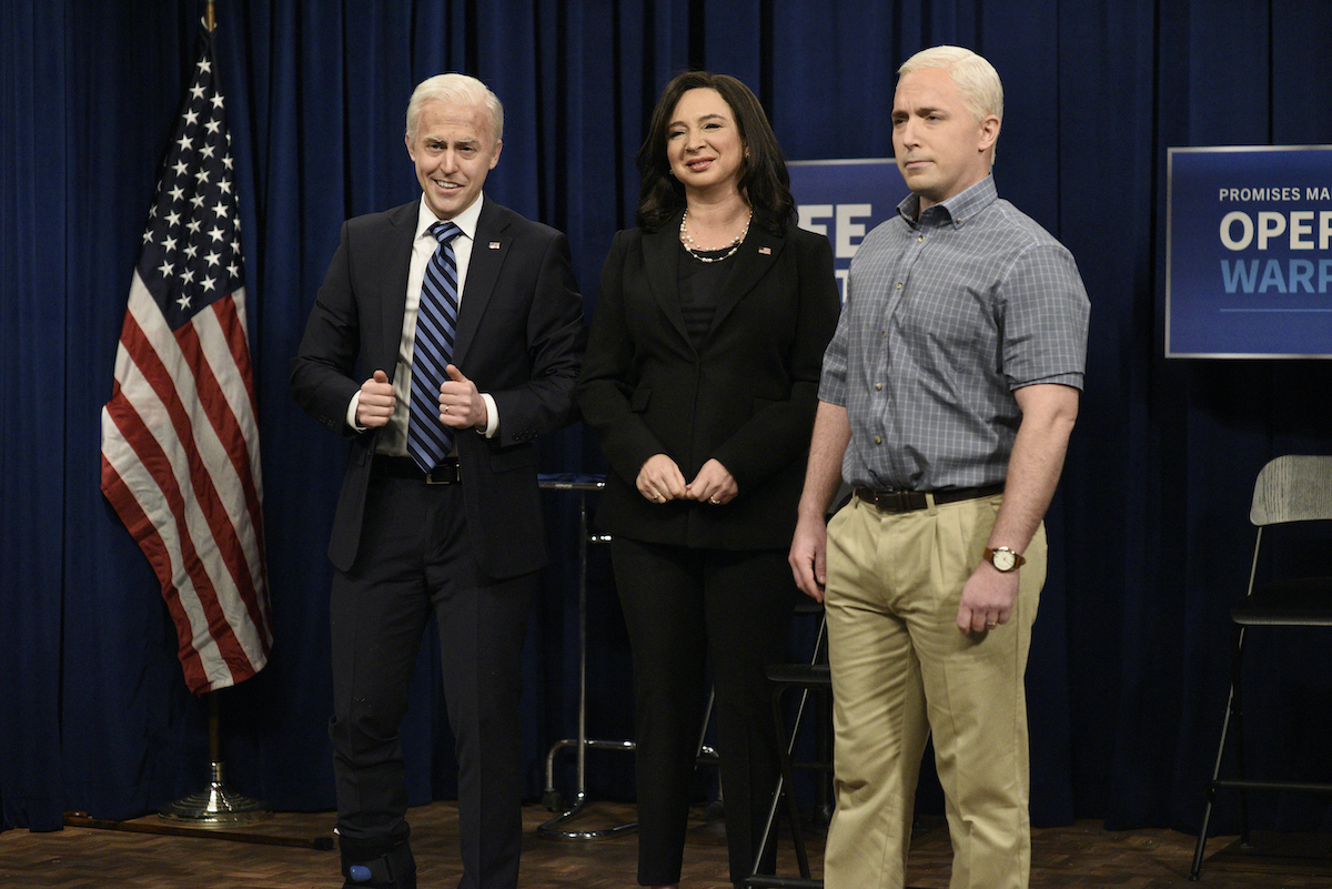 Alex Moffat, Maya Rudolph, and Beck Bennett on 'Saturday Night Live'