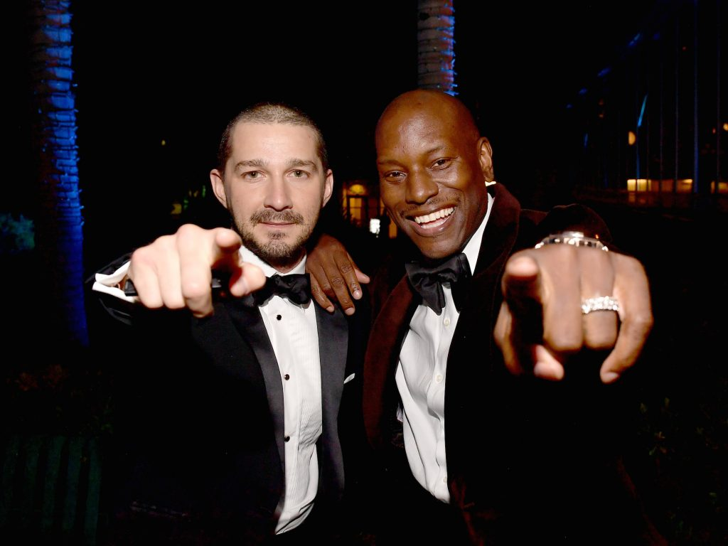 Shia LaBeouf (L) and Tyrese Gibson attend the 2020 Vanity Fair Oscar Party