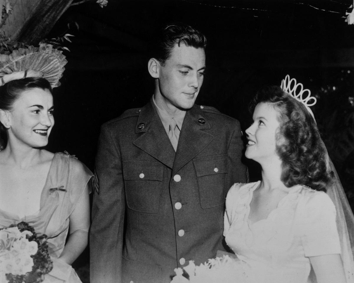 Shirley Temple and John Agar at their wedding